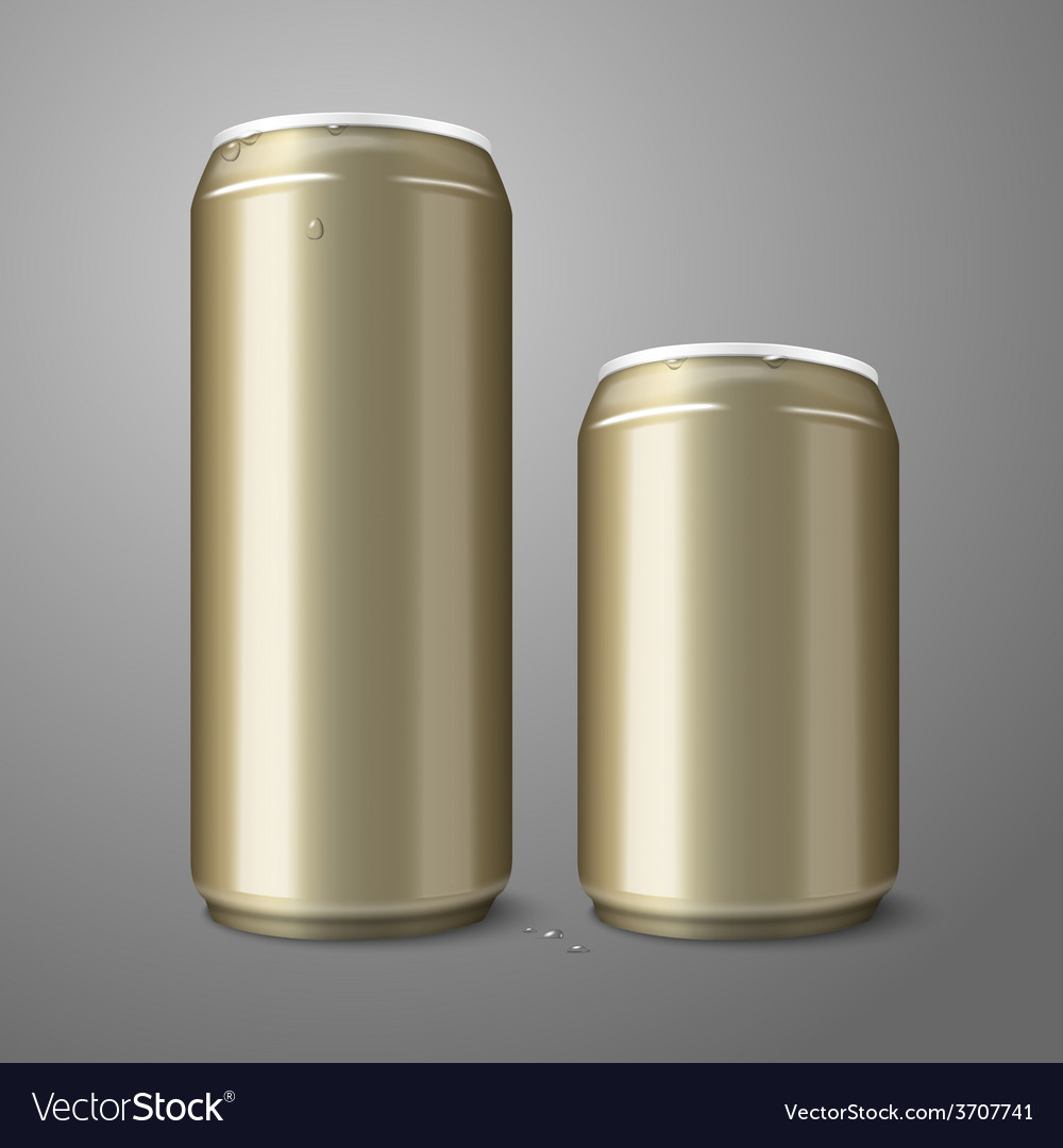 Two blank golden beer cans isolated on gray vector