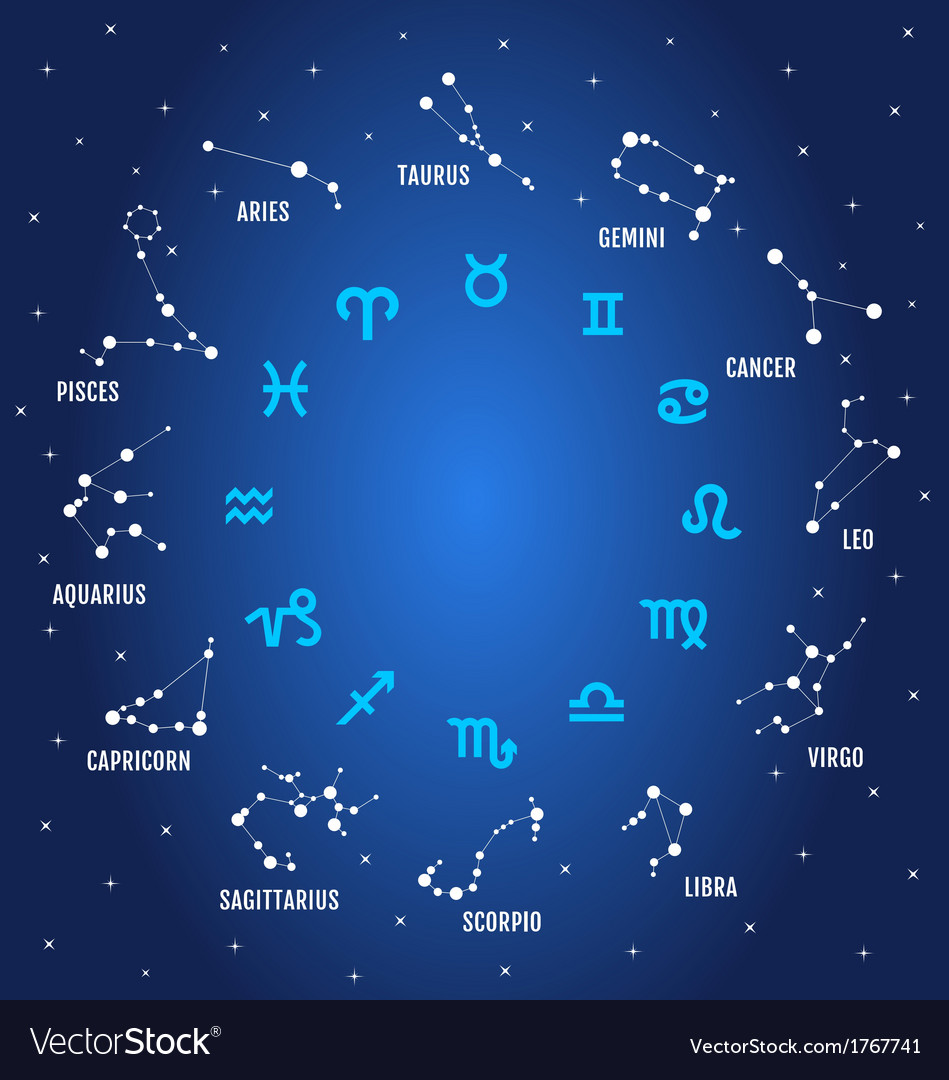 Zodiac signs in blue sky vector | Price: 1 Credit (USD $1)