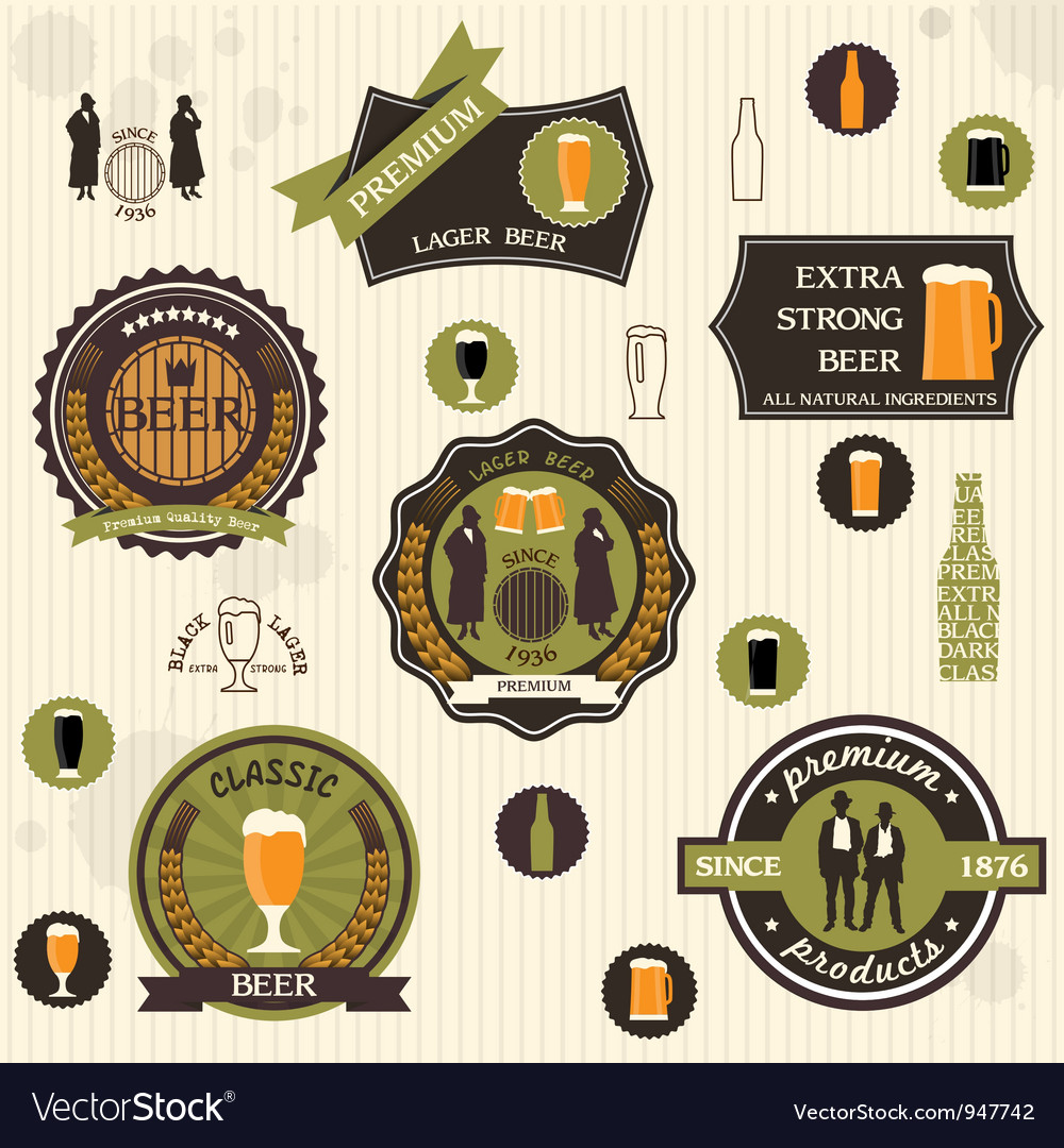 Beer badges and labels in retro style design vector | Price: 1 Credit (USD $1)