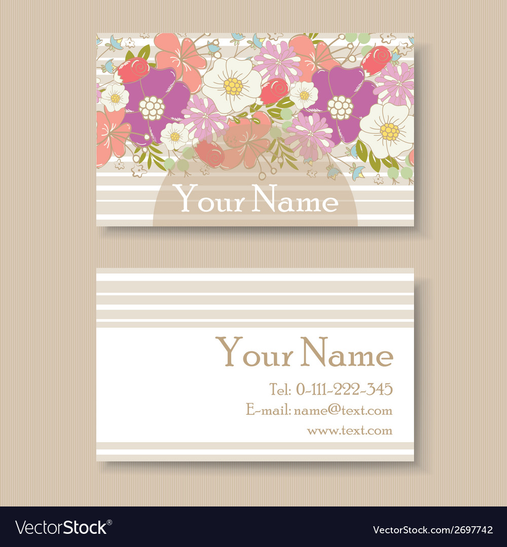 Business card with flowers vector   Price: 1 Credit (USD $1)
