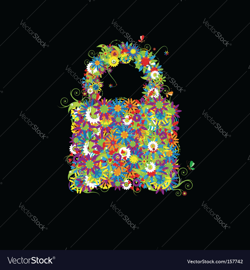 Closed lock floral style vector | Price: 1 Credit (USD $1)