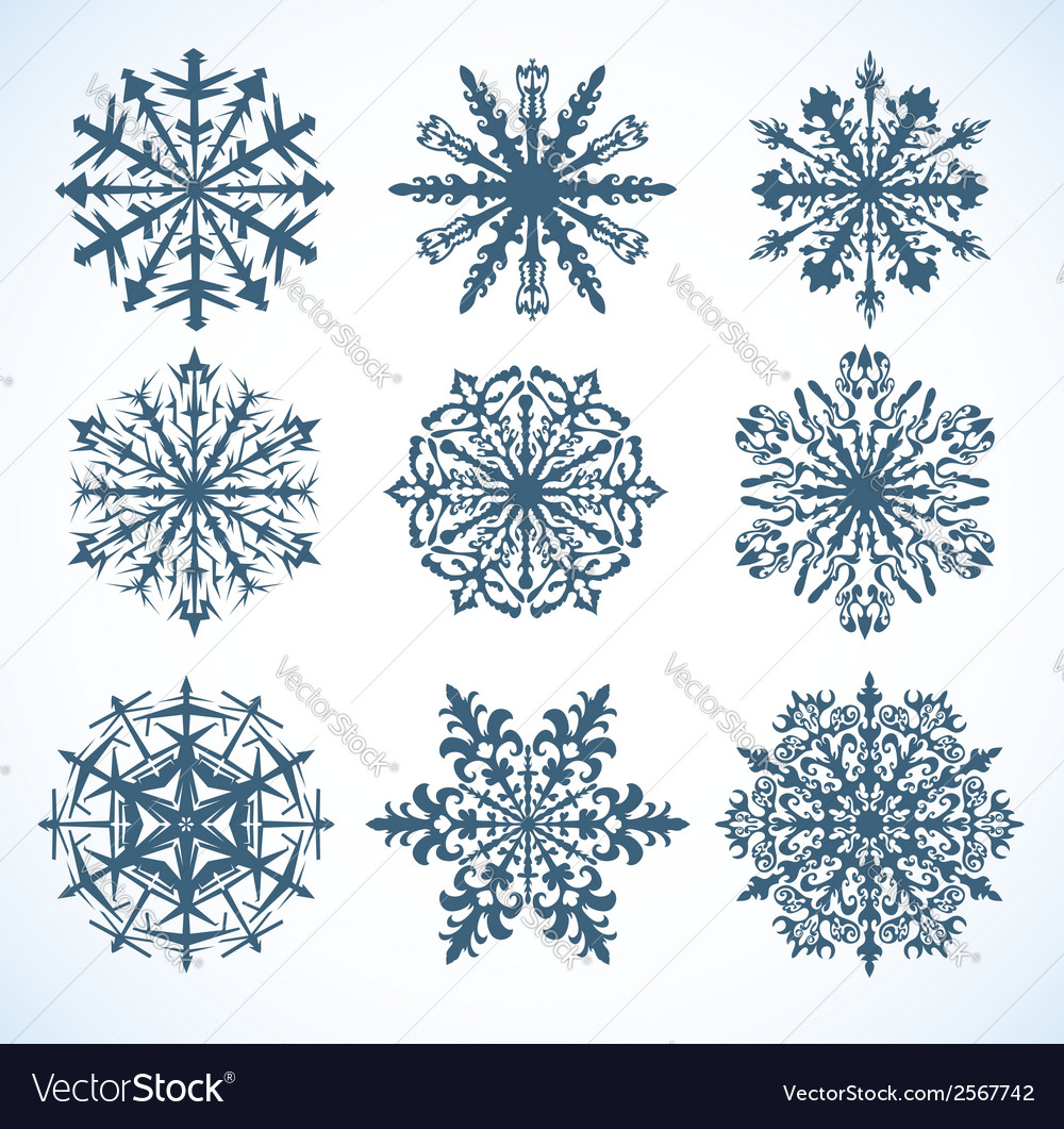 Collection of snowflakes vector | Price: 1 Credit (USD $1)