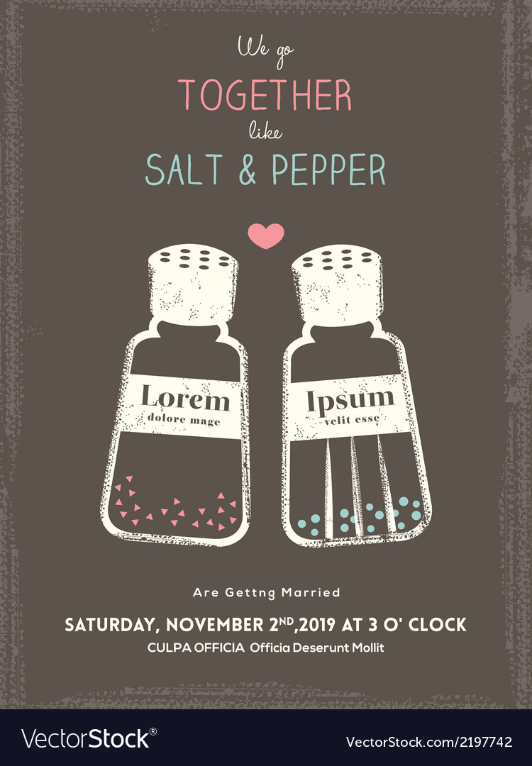 Cute salt and pepper wedding invitation card vector | Price: 1 Credit (USD $1)
