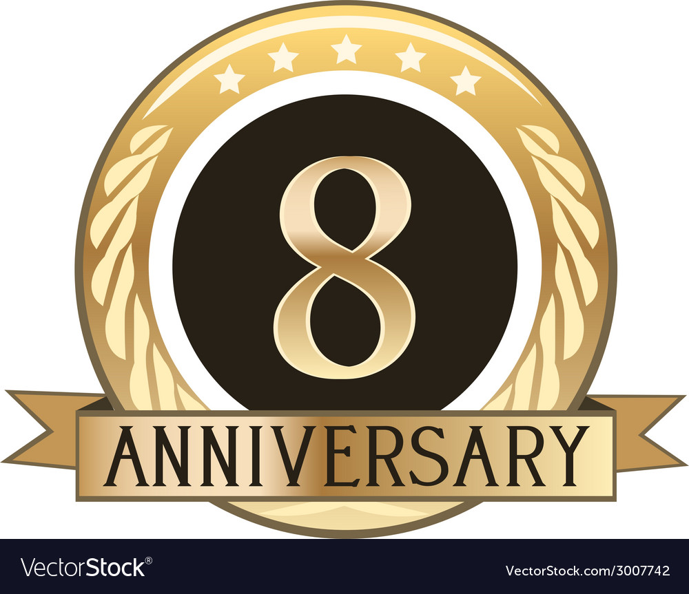 Eight year anniversary badge vector | Price: 1 Credit (USD $1)