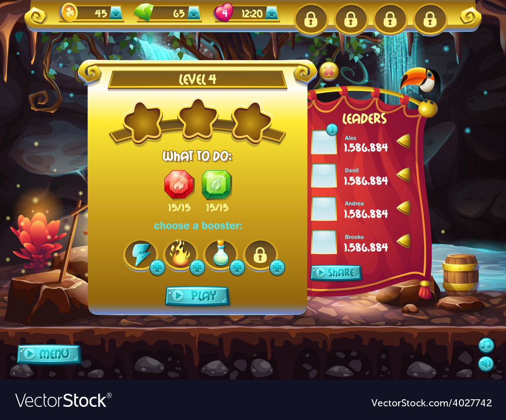 Example of user interface of a computer game a vector | Price: 3 Credit (USD $3)