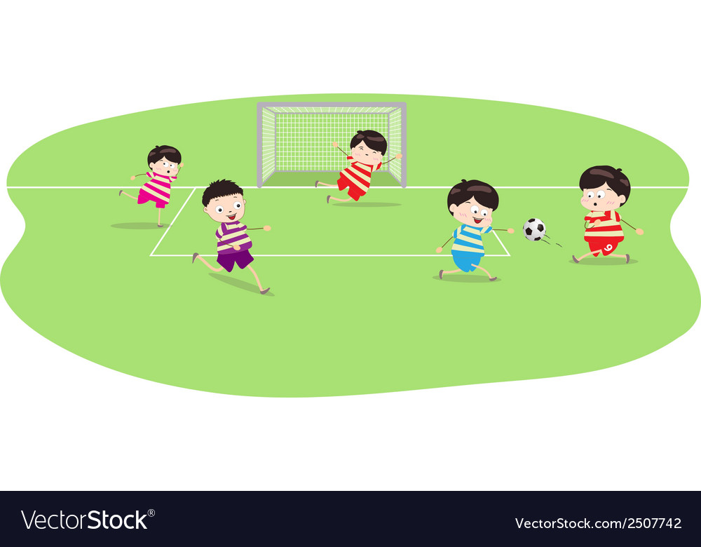 Featuring a group of boys playing soccer vector | Price: 1 Credit (USD $1)