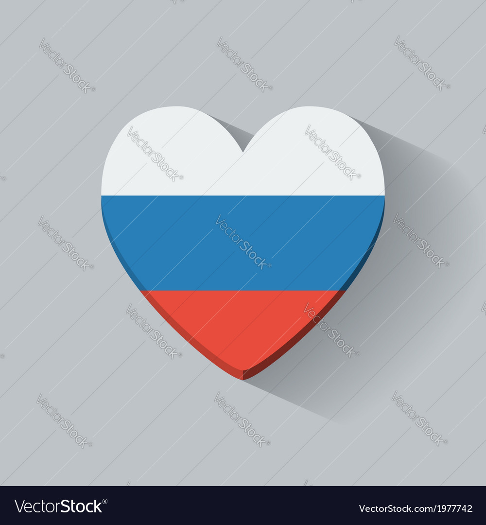 Heart-shaped icon with flag of russia vector | Price: 1 Credit (USD $1)