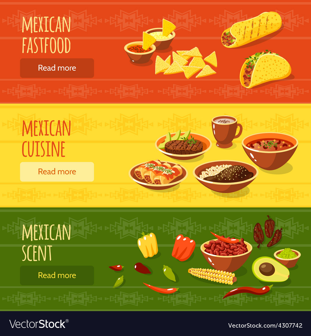 Mexican food banner set vector | Price: 1 Credit (USD $1)