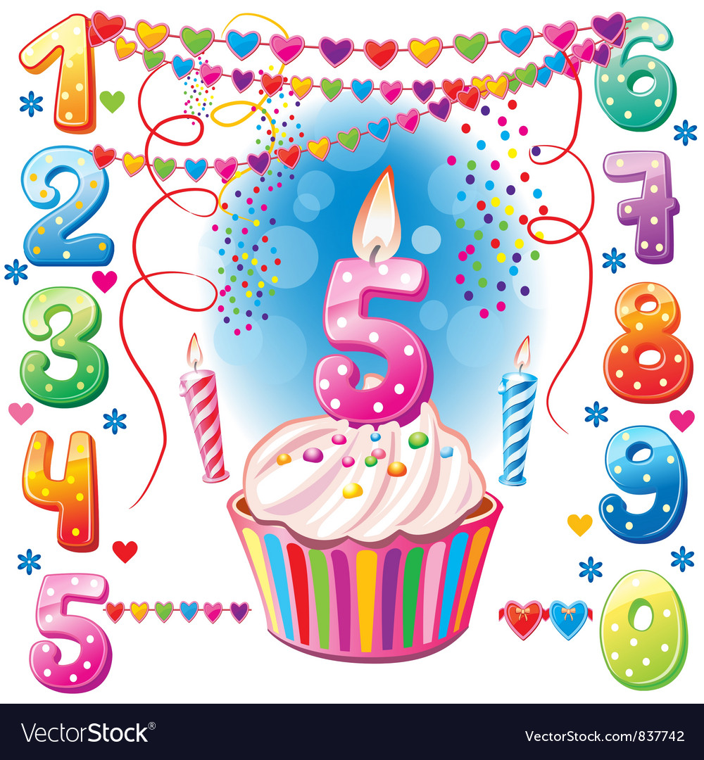 Numbered birthday candles and cake vector | Price: 3 Credit (USD $3)
