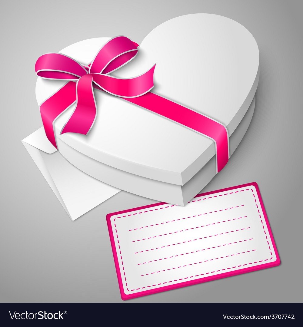 Realistic blank white heart shape box with vector | Price: 1 Credit (USD $1)