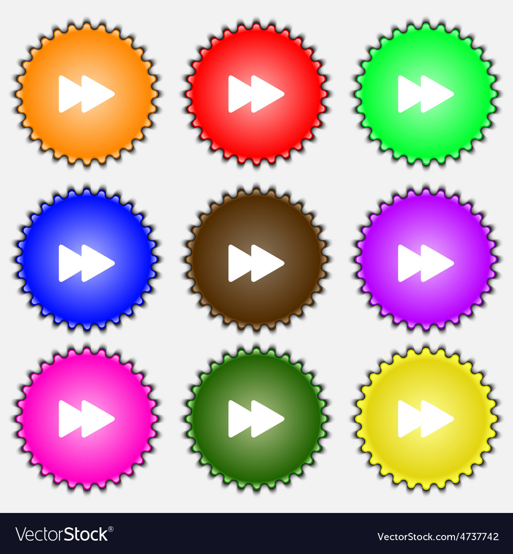 Rewind icon sign a set of nine different colored vector | Price: 1 Credit (USD $1)