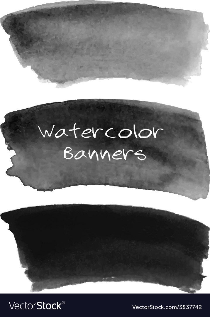 Watercolor black and grey banners set vector | Price: 1 Credit (USD $1)