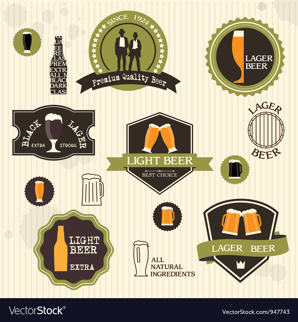 Beer badges and labels in vintage style design vector | Price: 1 Credit (USD $1)