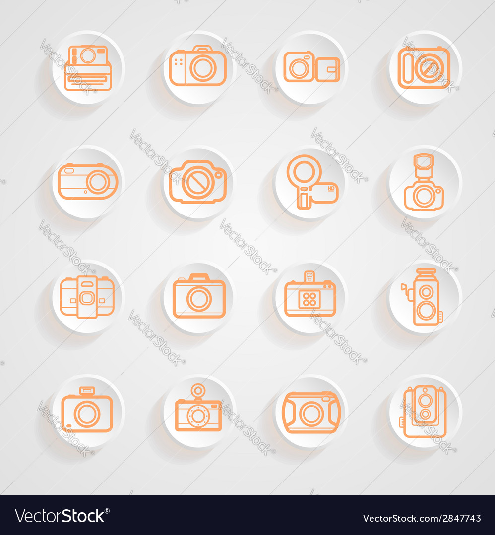 Button shadows camera icons set vector | Price: 1 Credit (USD $1)