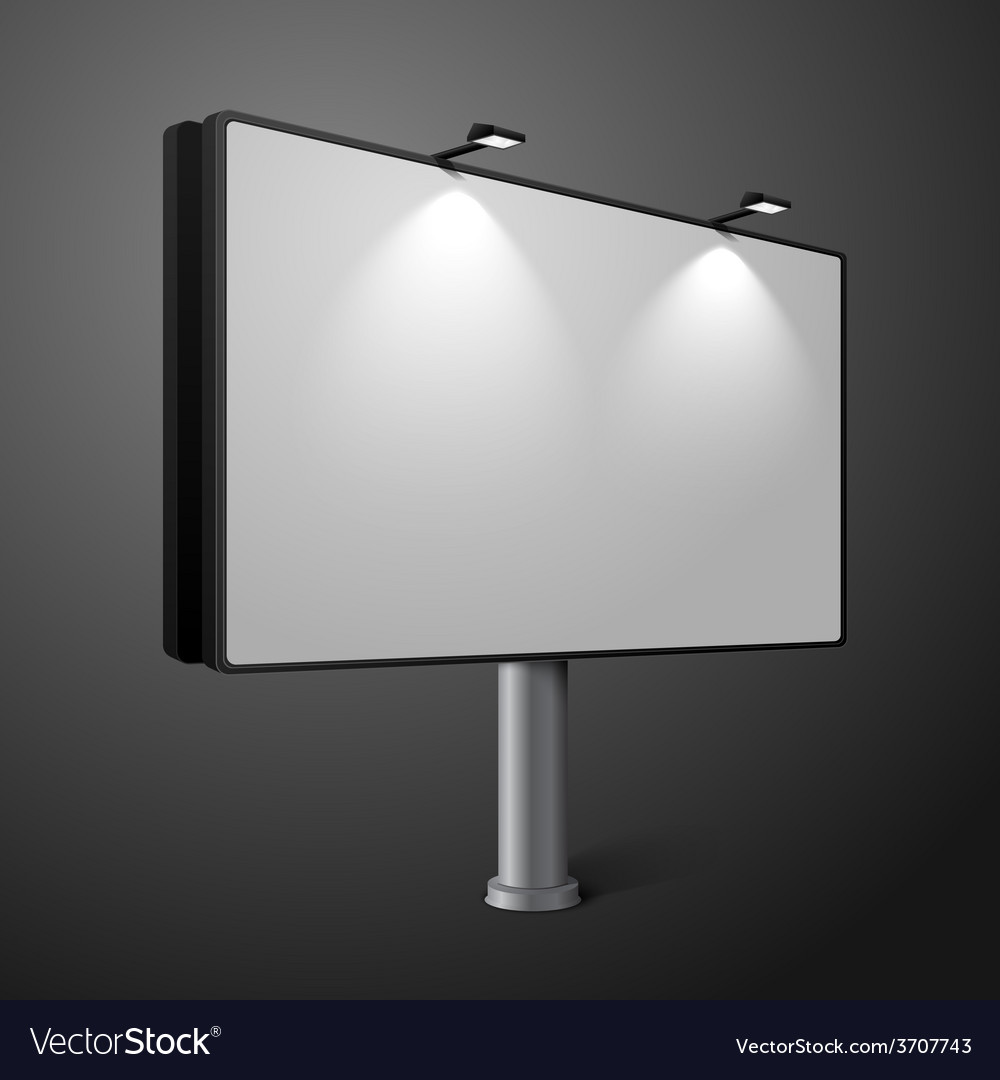 City billboard with lamps isolated on dark vector | Price: 1 Credit (USD $1)
