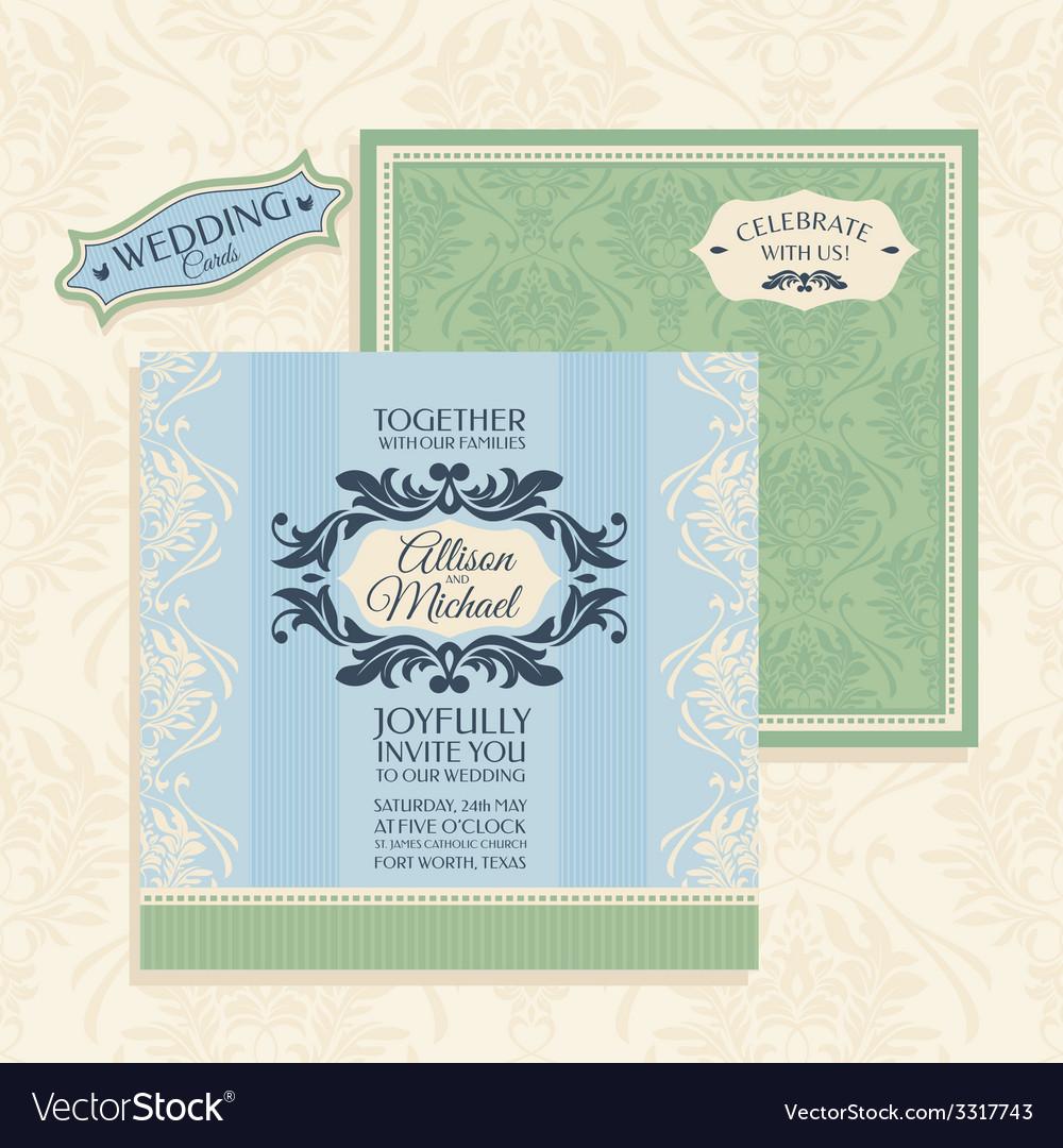 Floral wedding card vector | Price: 1 Credit (USD $1)