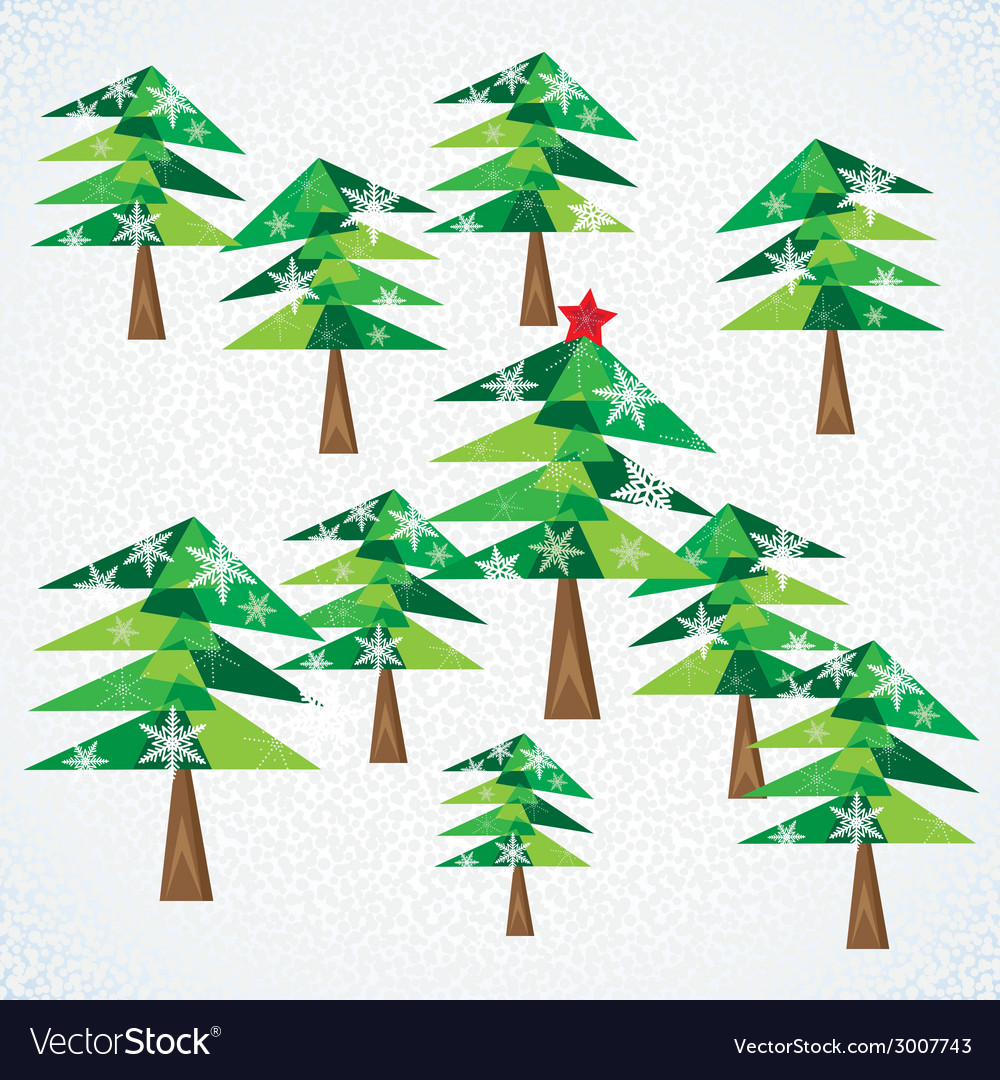 Green christmas fir trees background vector | Price: 1 Credit (USD $1)