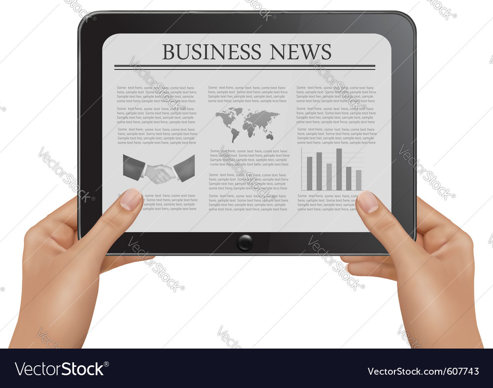 Hands holding digital tablet pc with business news vector | Price: 1 Credit (USD $1)