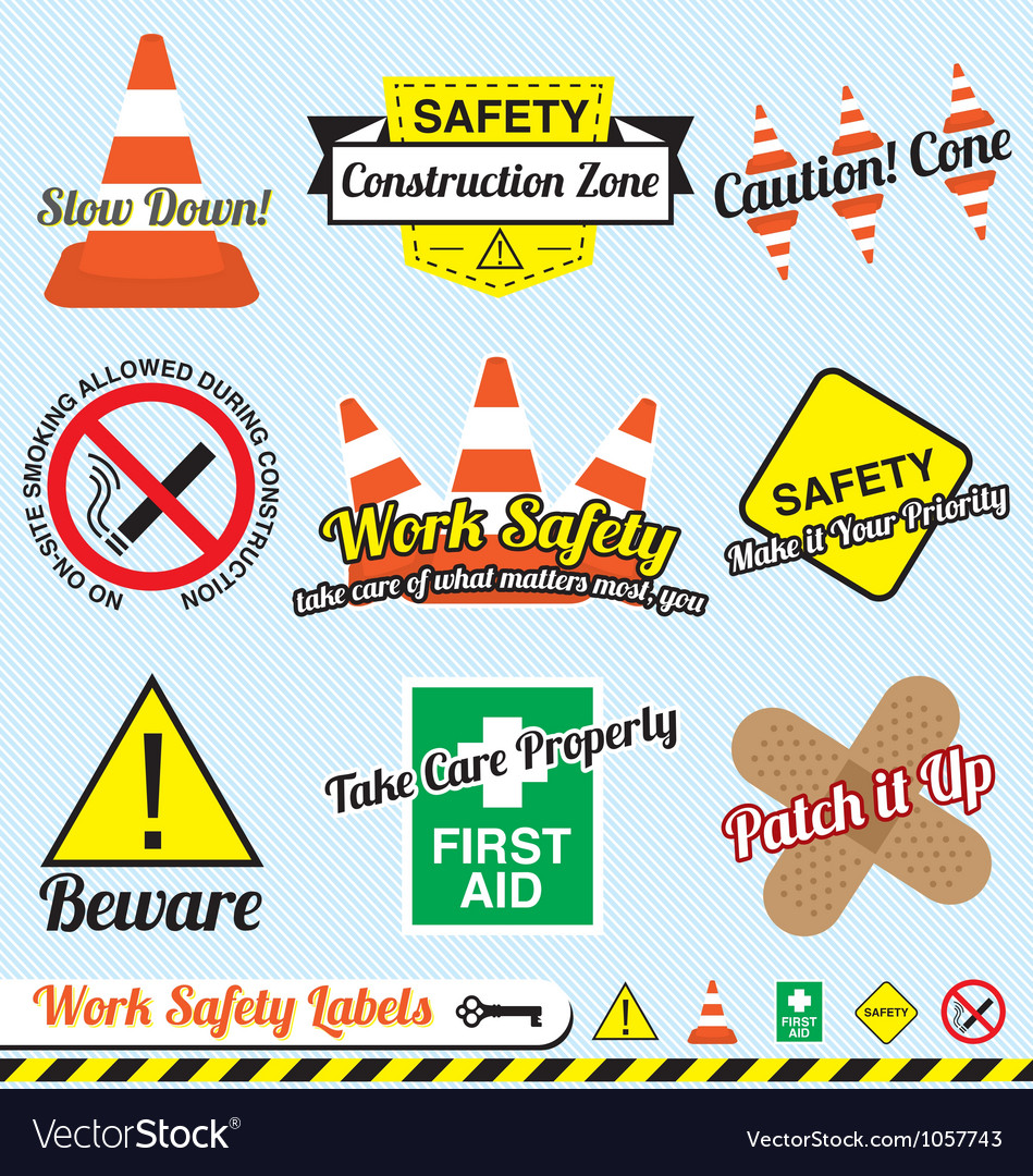 Work safety and construction labels vector | Price: 1 Credit (USD $1)