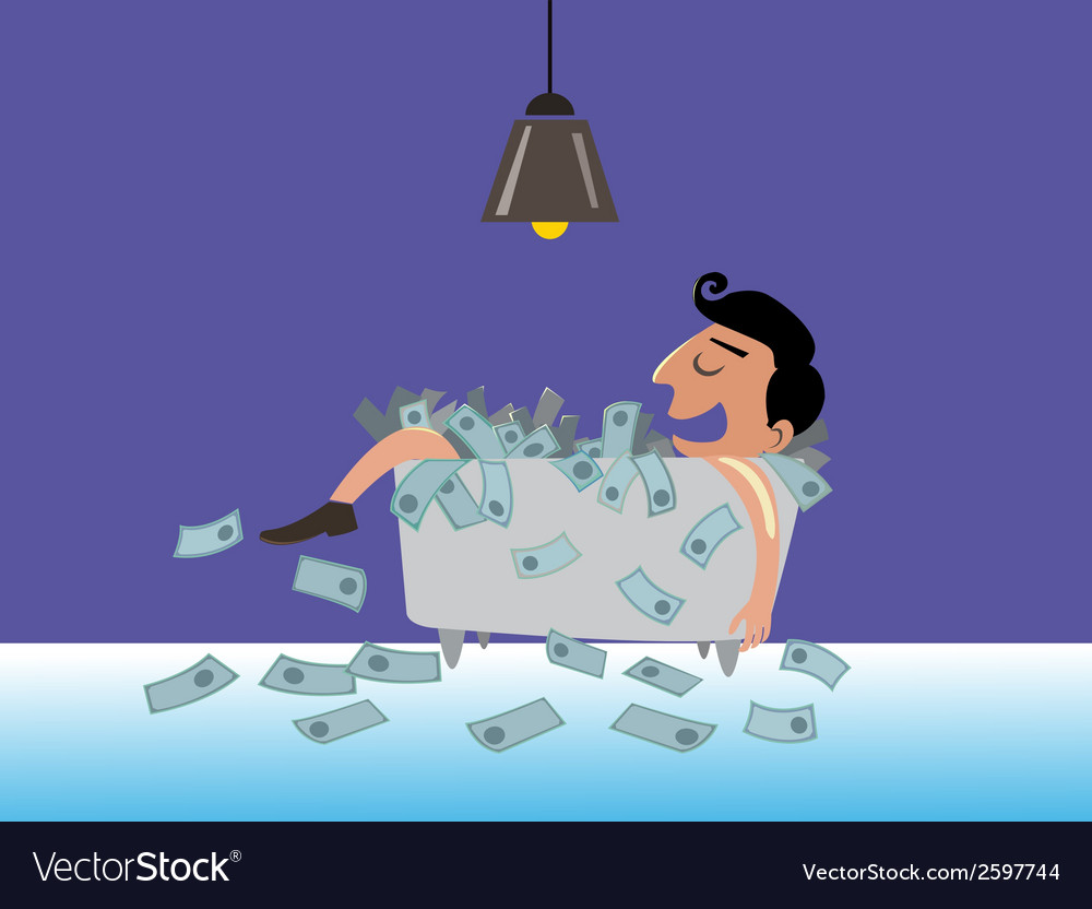 Businessman lying on the money vector   Price: 1 Credit (USD $1)