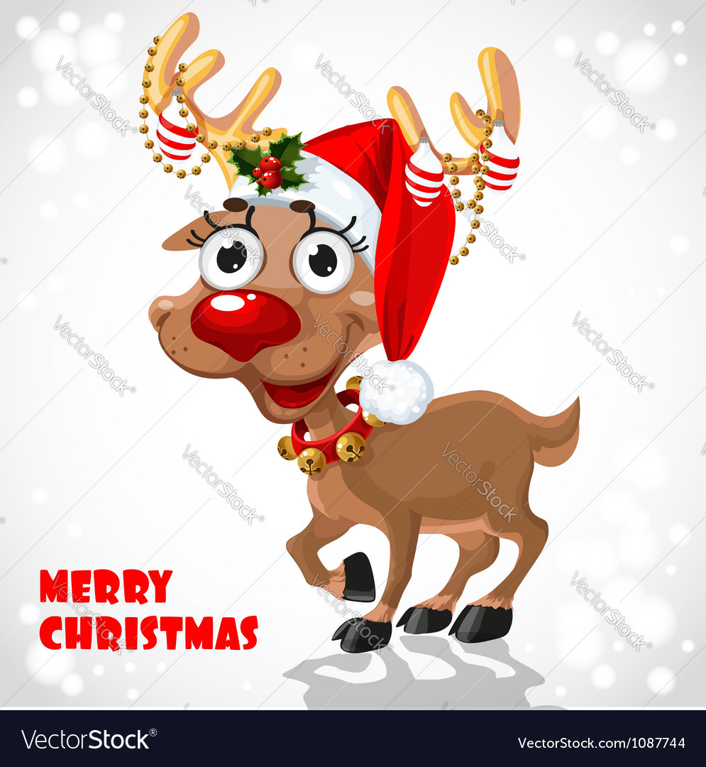 Cute santa reindeer vector | Price: 3 Credit (USD $3)