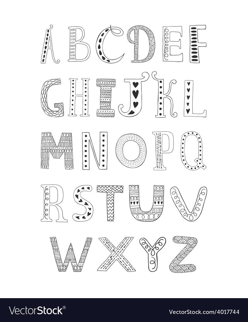 Hand drawn alphabet vector | Price: 1 Credit (USD $1)