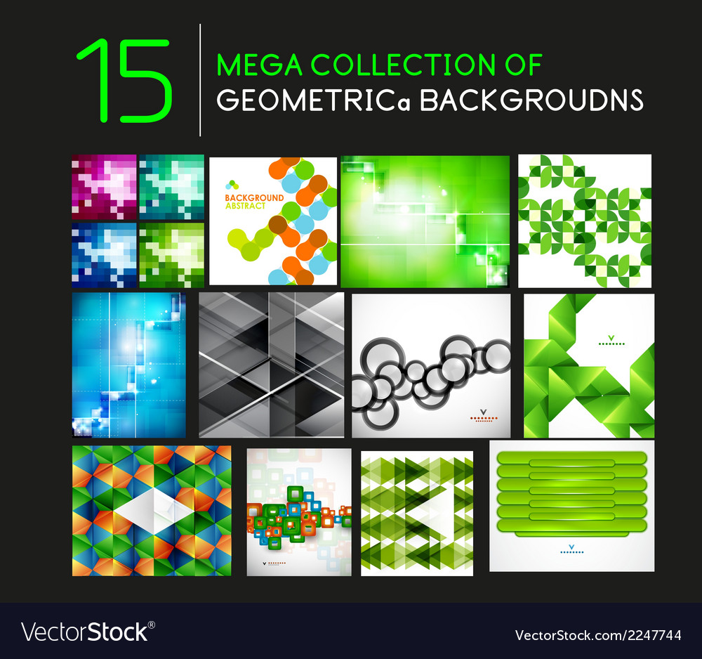 Mega set of geometric shape abstract backgrounds vector | Price: 1 Credit (USD $1)