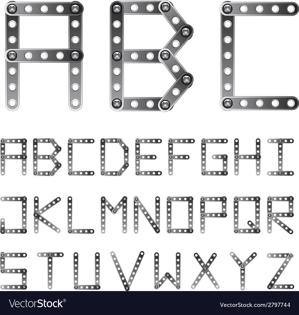 Metal screwed alphabet font vector | Price: 1 Credit (USD $1)