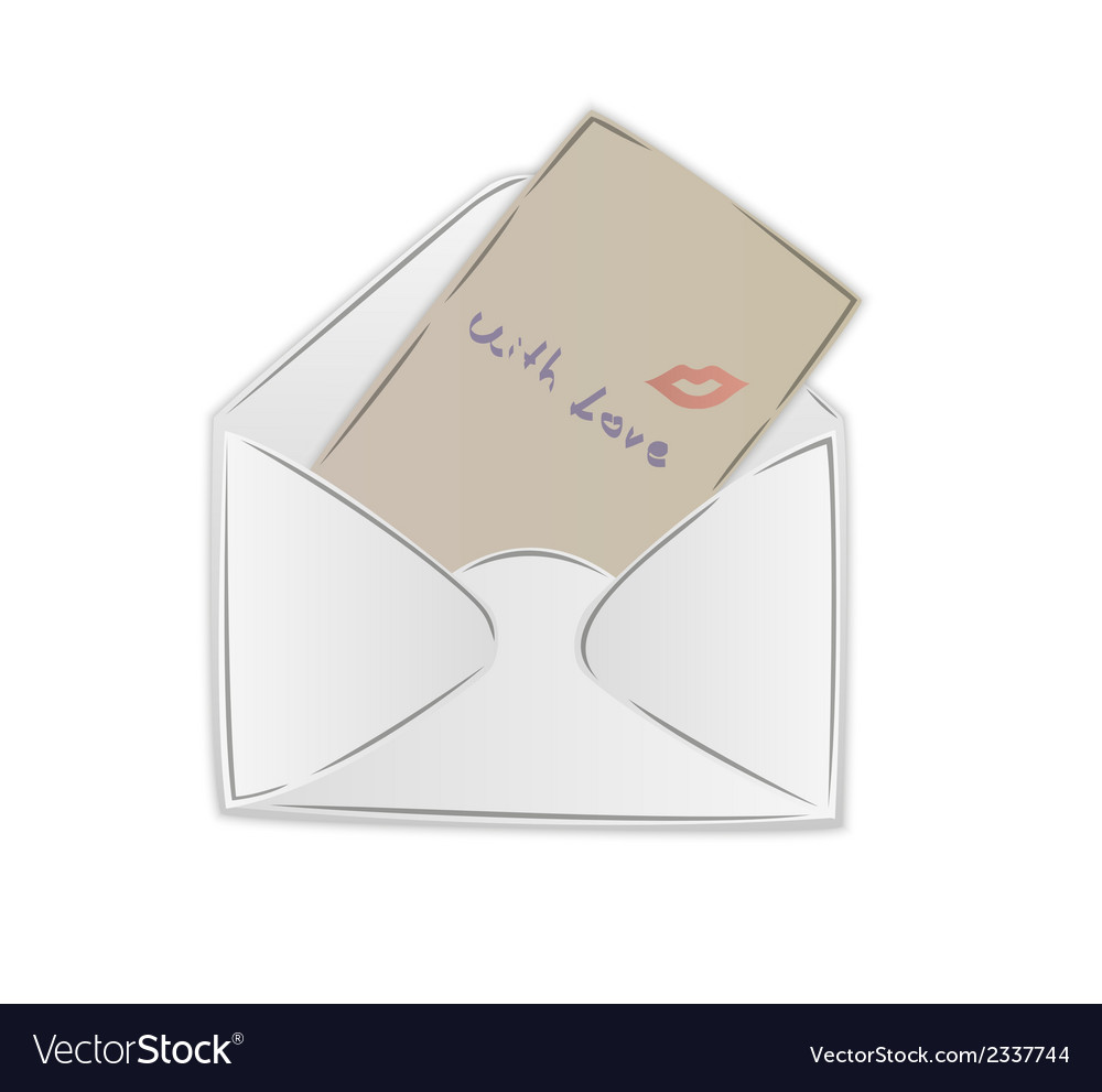Opened postal envelope with love letter and kiss vector | Price: 1 Credit (USD $1)