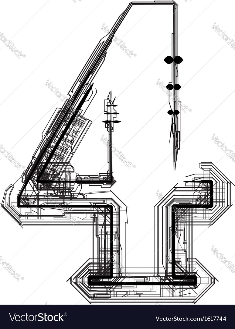 Technical typography number 4 vector | Price: 1 Credit (USD $1)