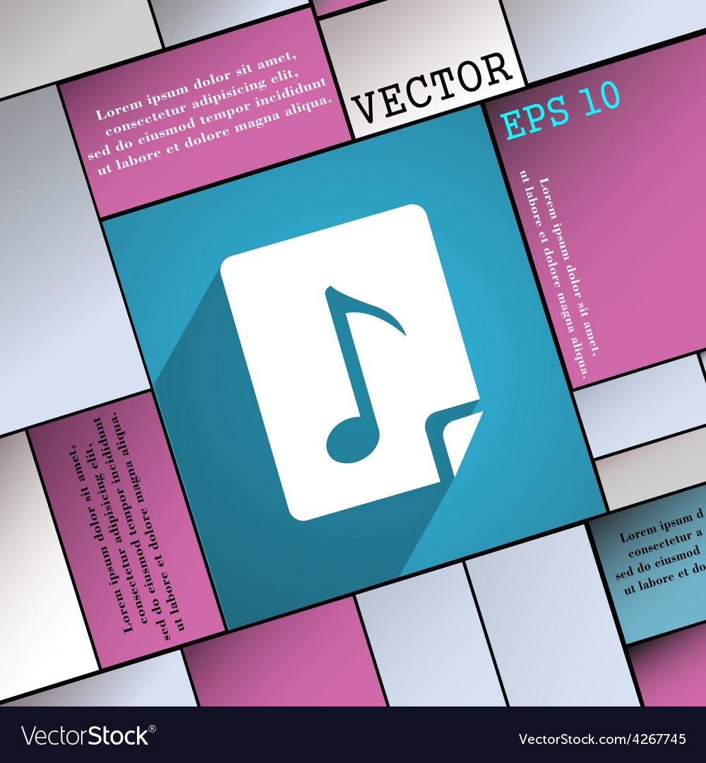 Audio mp3 fileicon symbol flat modern web design vector | Price: 1 Credit (USD $1)