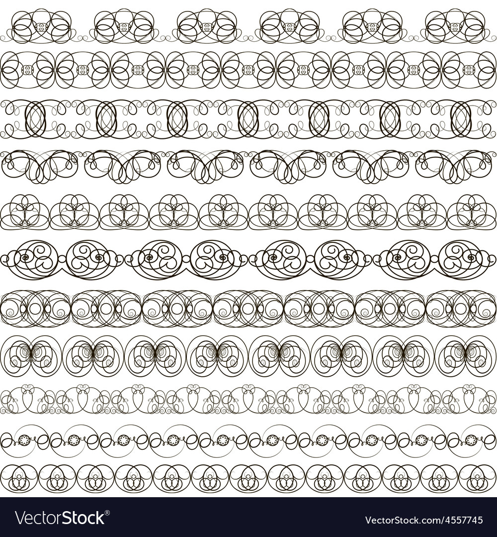 Background with set of linear calligraphic ornamen vector   Price: 1 Credit (USD $1)