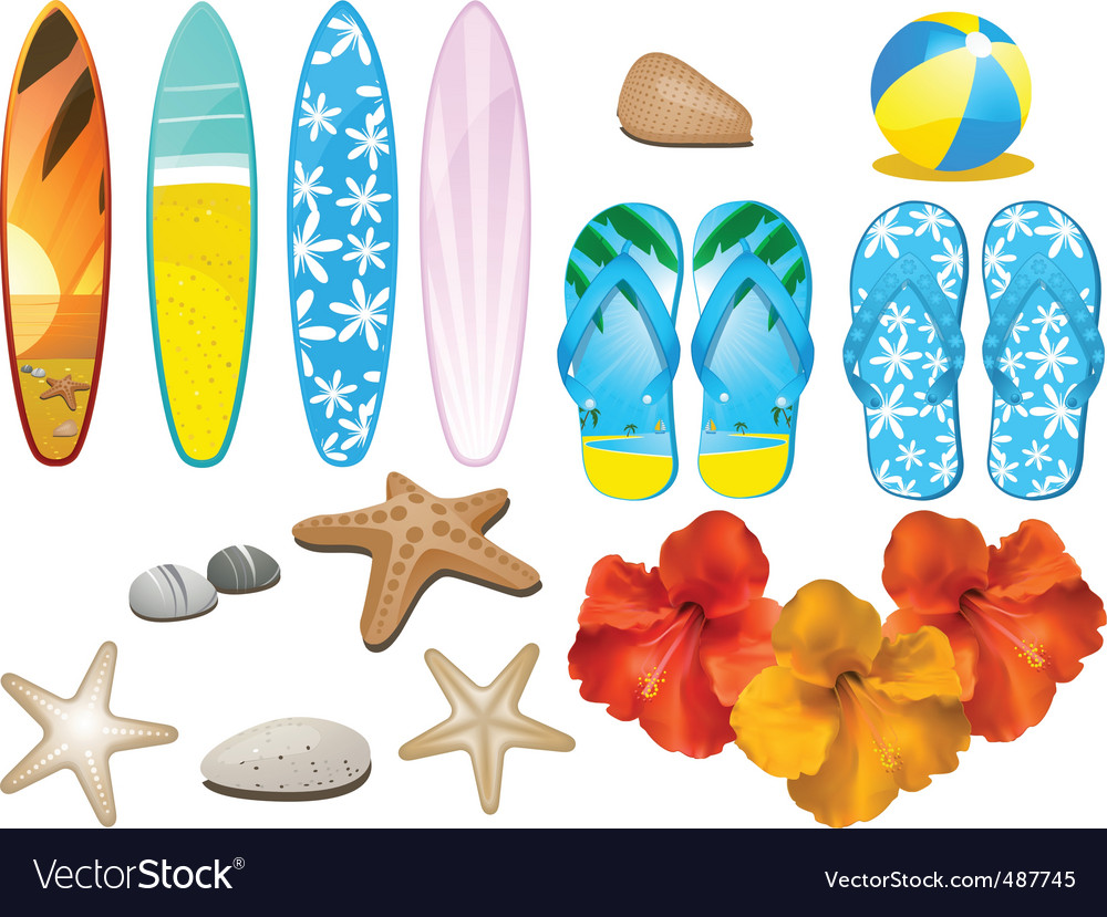 Beach and tropical elements vector | Price: 3 Credit (USD $3)