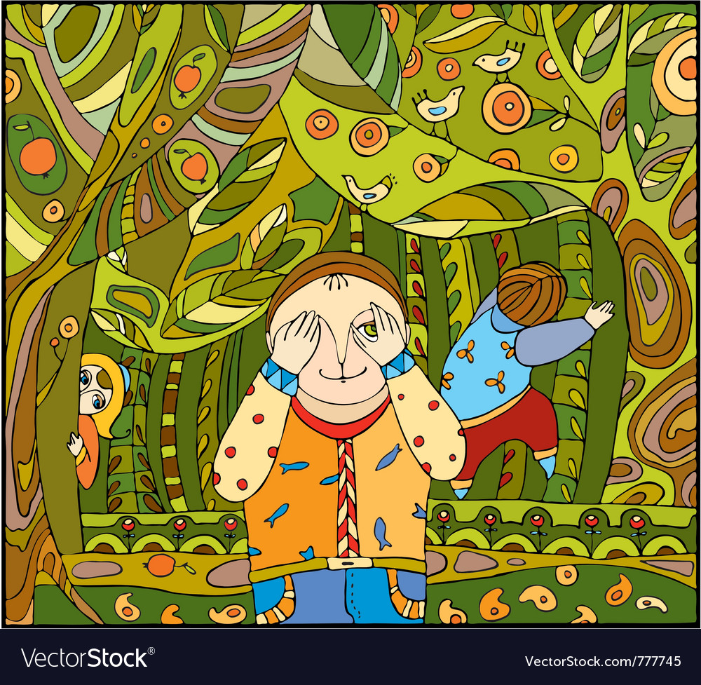 Children play forest vector | Price: 1 Credit (USD $1)