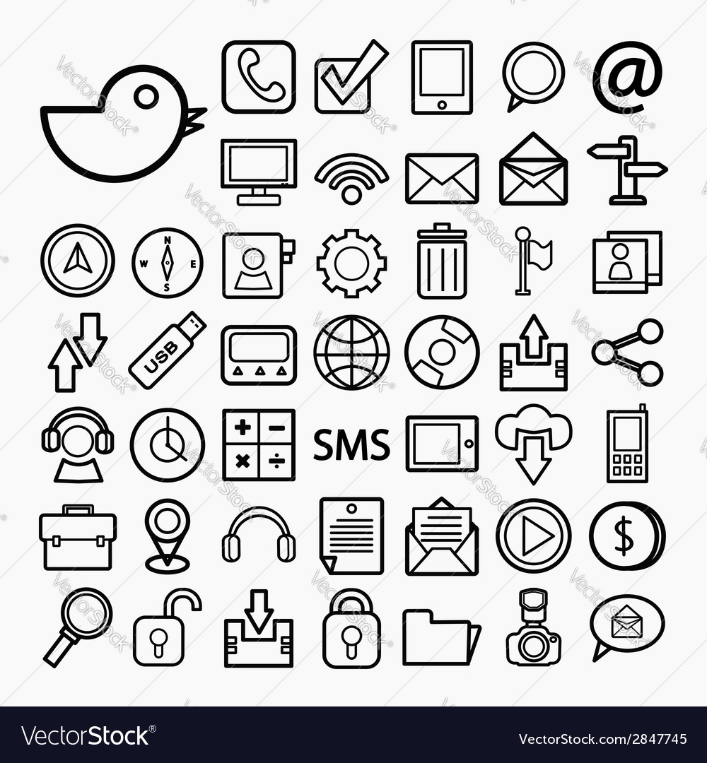 Communication and transportaion icon set vector | Price: 1 Credit (USD $1)