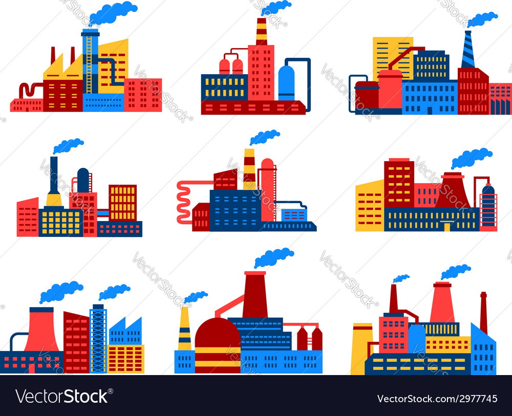 Industrial buildings flat icons vector | Price: 1 Credit (USD $1)