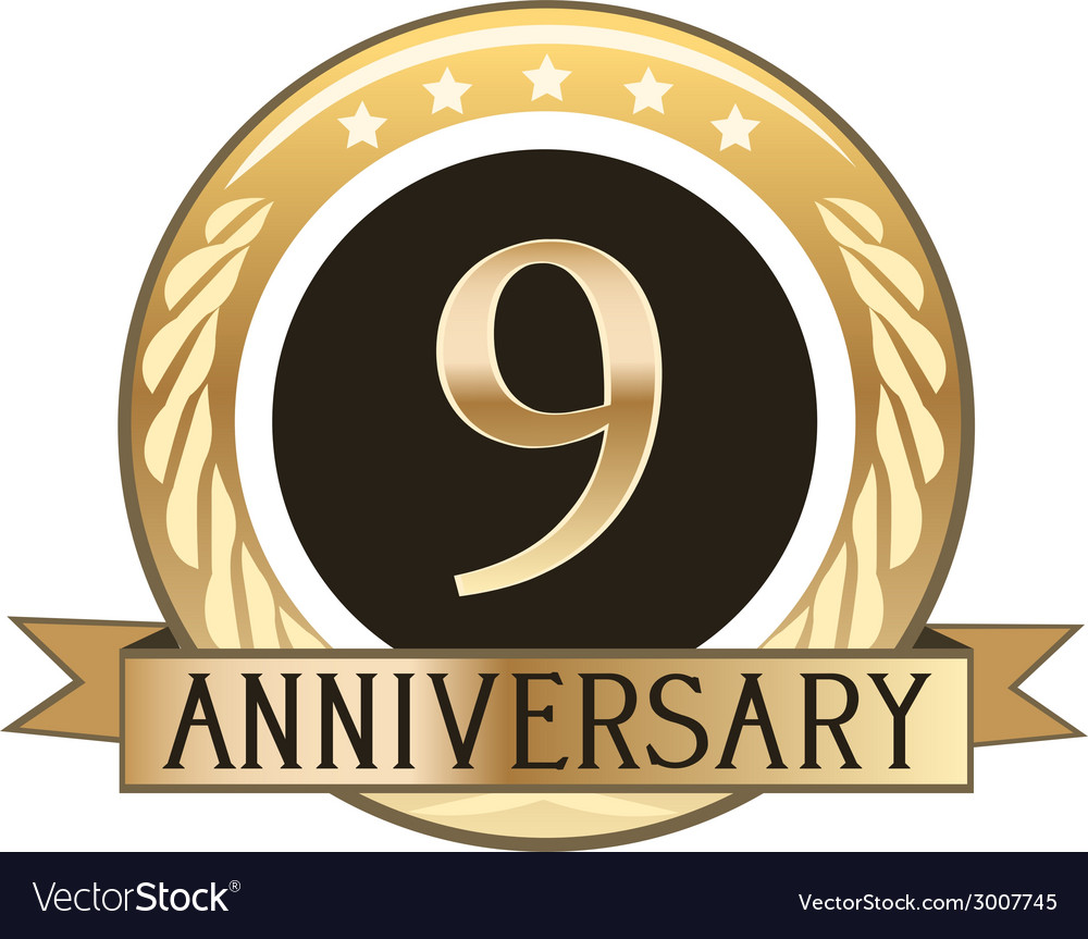 Nine year anniversary badge vector | Price: 1 Credit (USD $1)