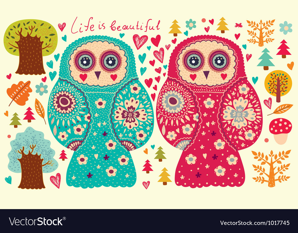 Owl couple vector | Price: 1 Credit (USD $1)