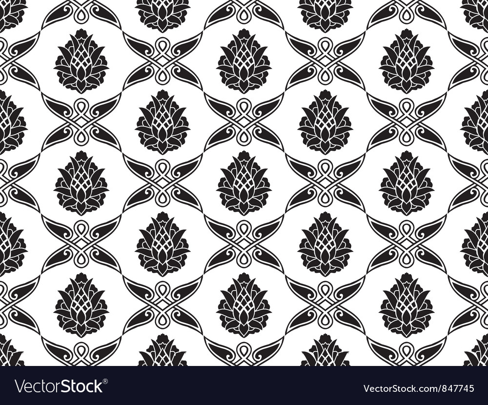 Seamless damask floral texture vector | Price: 1 Credit (USD $1)