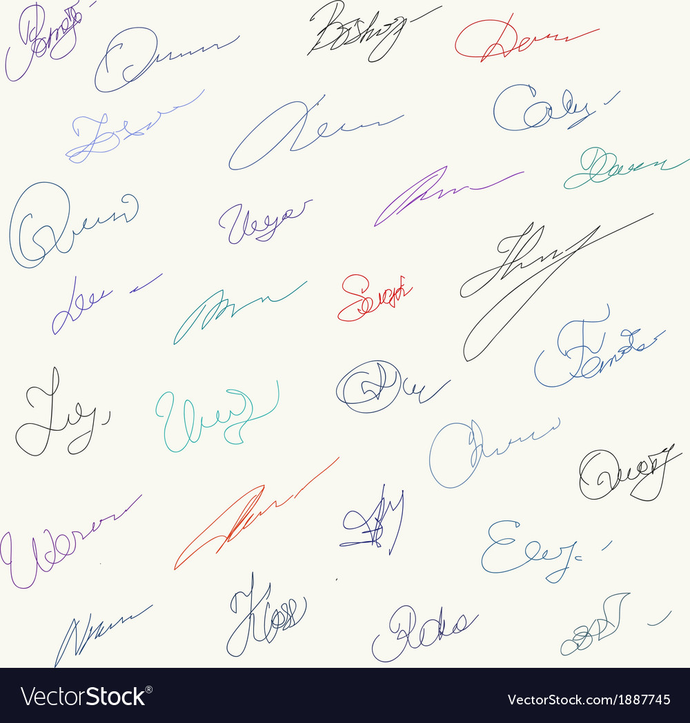 Set of unique hanwritten signatures vector | Price: 1 Credit (USD $1)