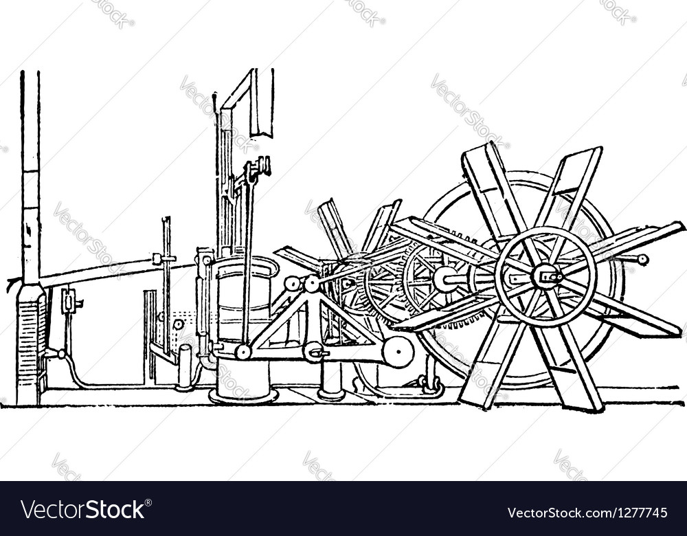 Steam ship paddle vintage vector | Price: 1 Credit (USD $1)