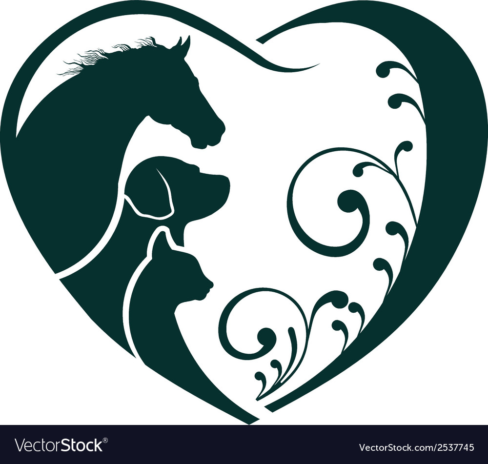 Veterinarian heart animal love horse dog and cat vector | Price: 1 Credit (USD $1)