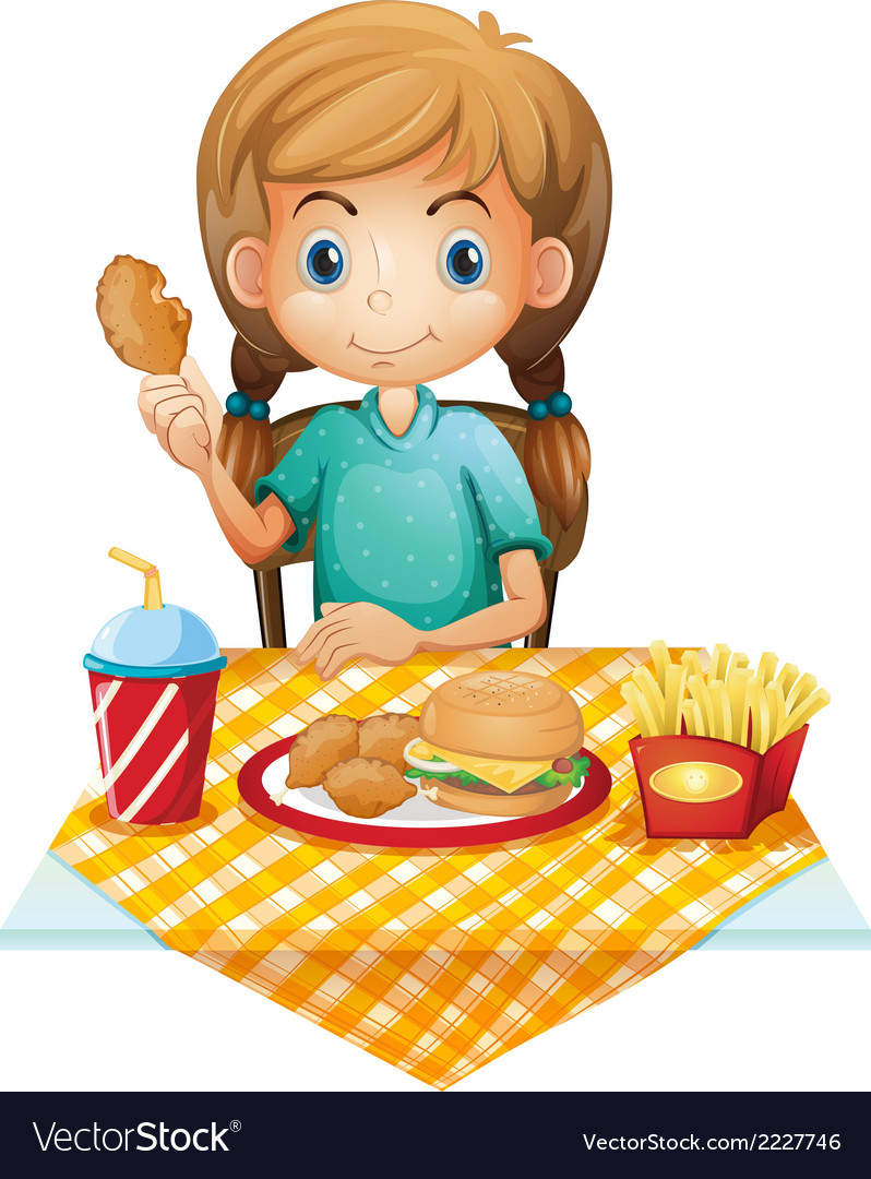 A hungry young girl eating vector | Price: 1 Credit (USD $1)