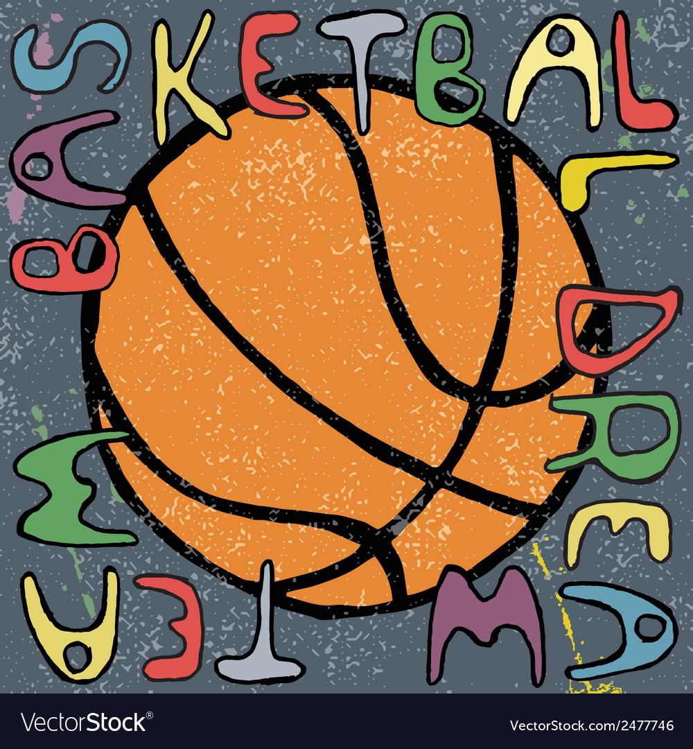 Basketball ball hand drawn poster design vector | Price: 1 Credit (USD $1)