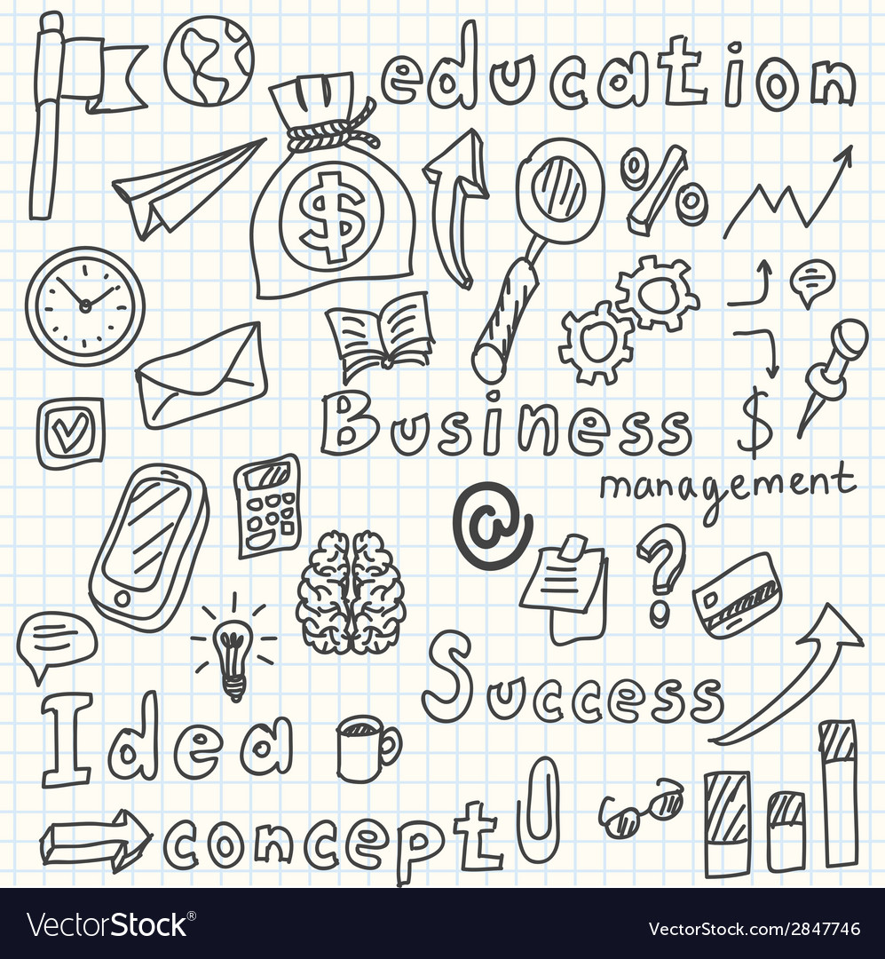 Business idea doodles icons set vector | Price: 1 Credit (USD $1)