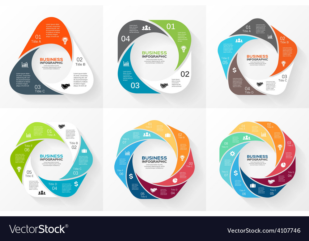 Circle geometric infographics set template vector | Price: 1 Credit (USD $1)