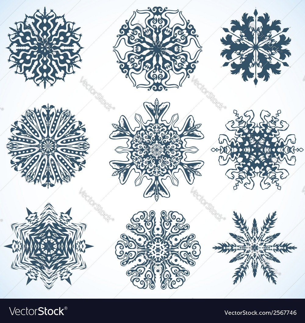 Collection of snowflakes some snowflakes with vector | Price: 1 Credit (USD $1)