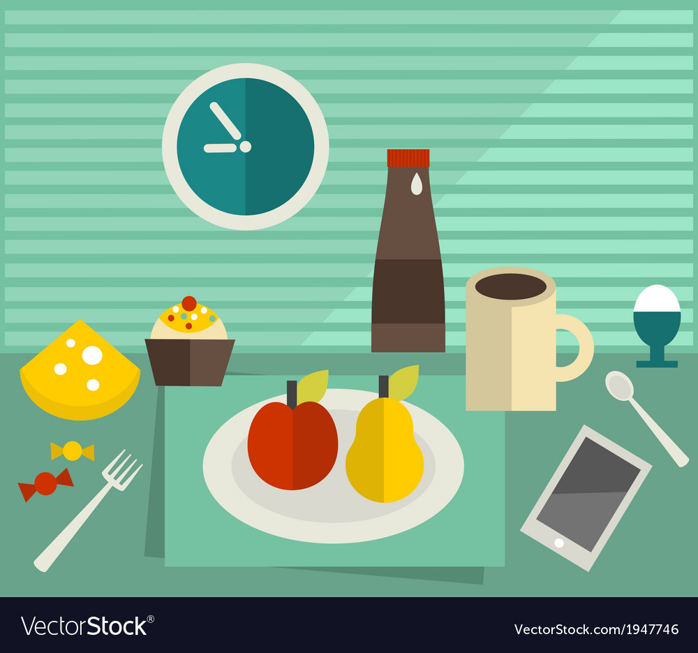 Food and drink on the table vector | Price: 1 Credit (USD $1)