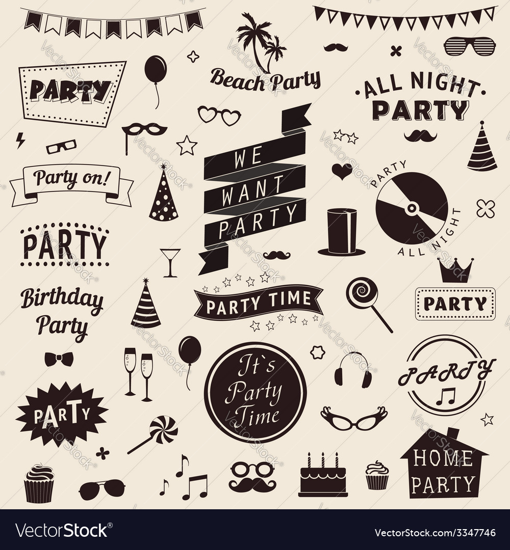 Set of party icons set of party icons vector | Price: 1 Credit (USD $1)