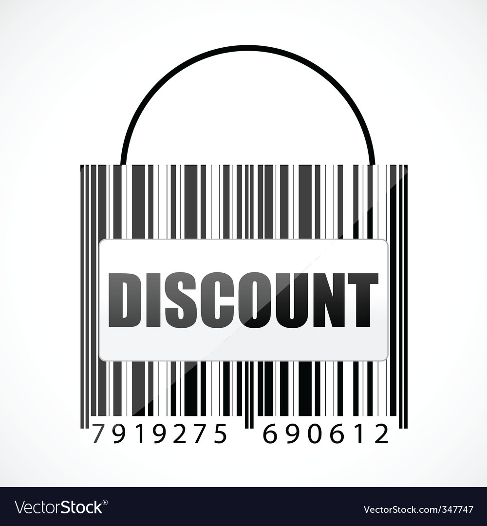 Barcode discount bag vector | Price: 1 Credit (USD $1)